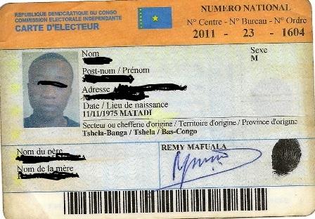 Une carte d'electeur-crédit photo: infosbascongo.net