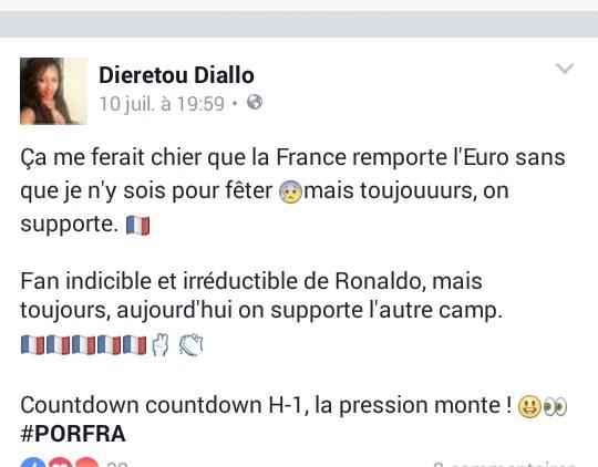 capture d'écran d'un post facebook de Dieretou